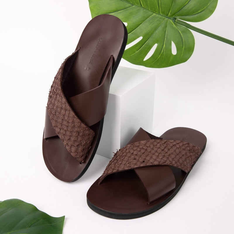 Sarep + Rose Sandals Fishskin Leather Sandal: Brown