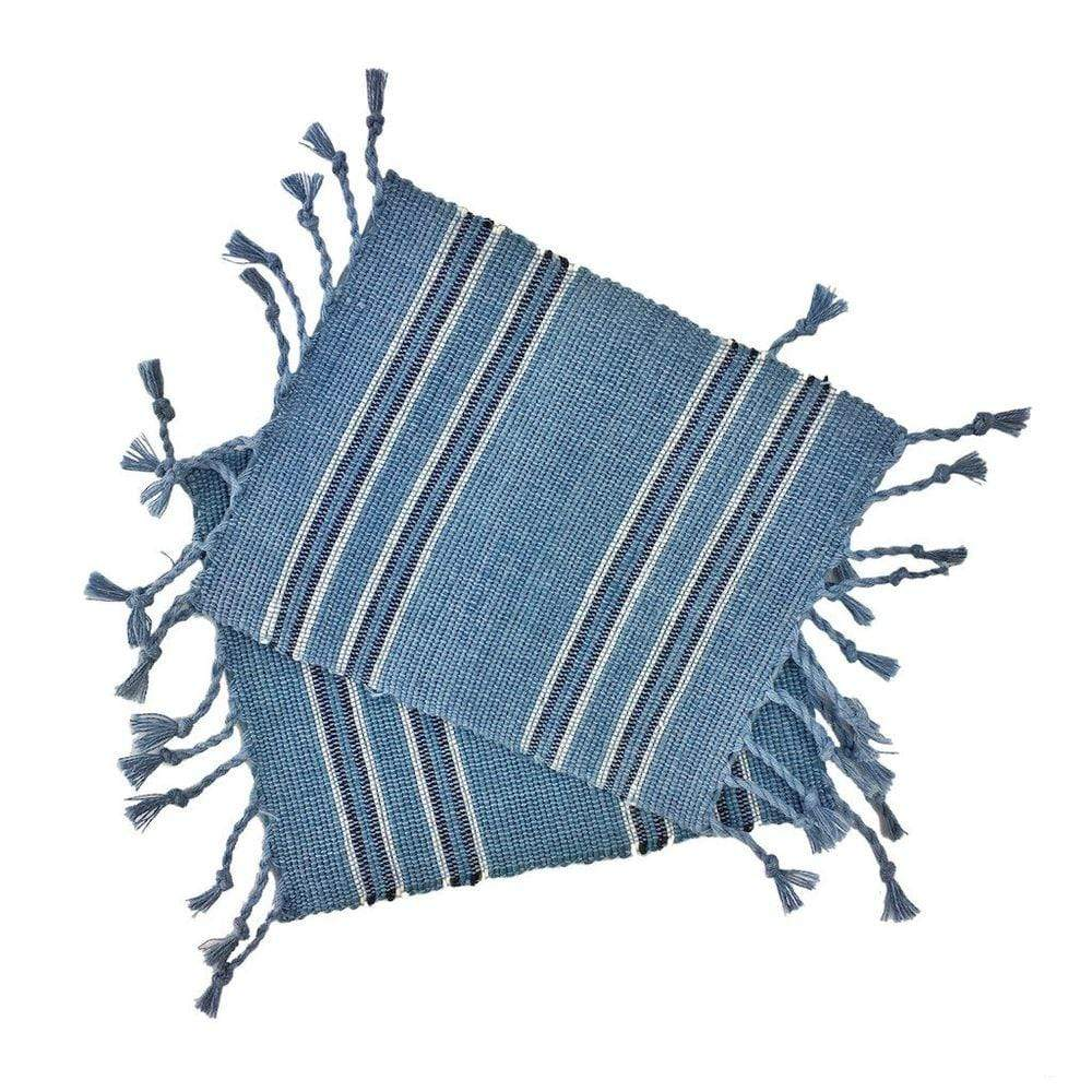 SLATE + SALT Coasters Striped Fringe Coasters