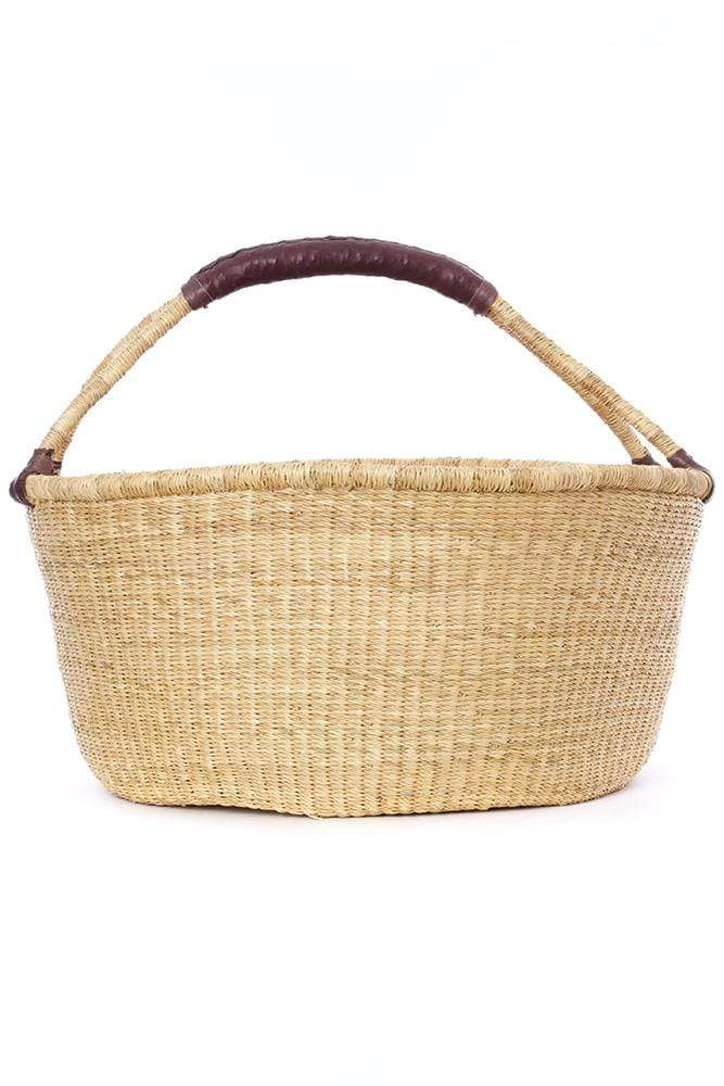Swahili Modern Basket Oversize Natural Bolga Basket with Chocolate Brown Leather Handle