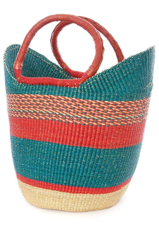 Swahili Modern Handbag Amaranth & Aqua Bolga Shopper with Leather Handles