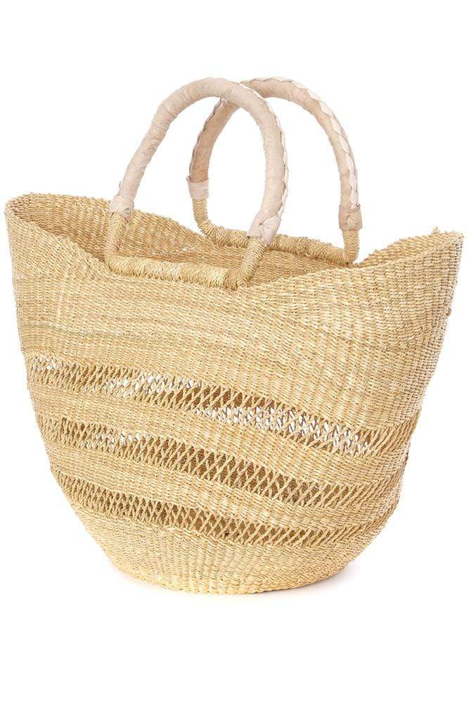 Swahili Modern Handbag Natural Ghanaian Lacework Wing Shopper with Dye-Free Leather Handles