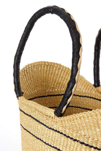 Swahili Modern Handbag Natural Pinstripe Bolga Shopper with Leather Handles