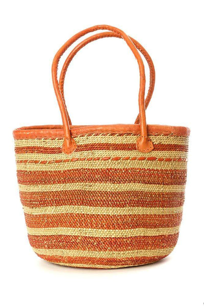 Swahili Modern Handbag Small Iringa Basket Shopper with Leather Handle