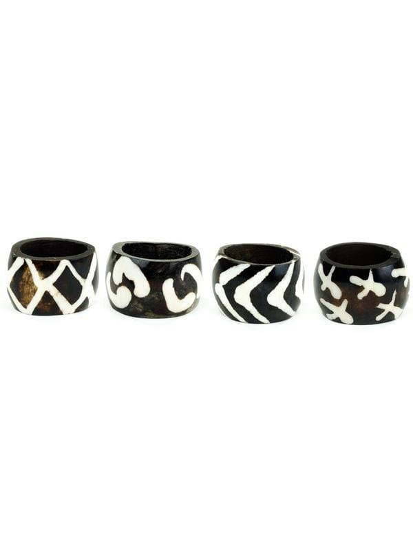 Swahili Modern Napkin Rings Batik Bone Napkin Rings (Set of 4)