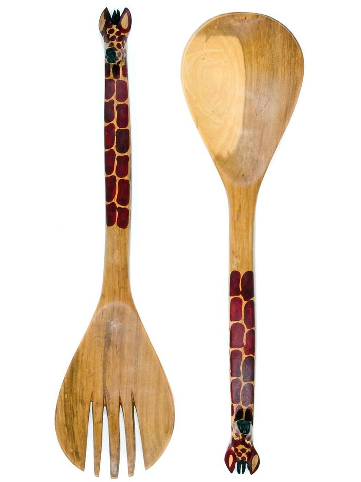 Swahili Modern Salad Servers Kenyan Mahogany Giraffe Salad Set