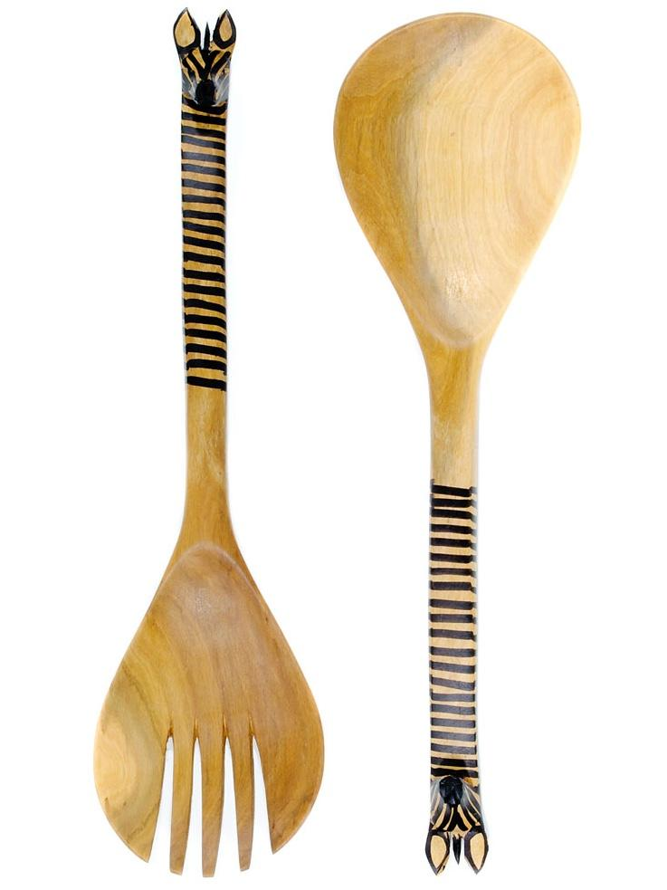 Swahili Modern Salad Servers Kenyan Mahogany Zebra Salad Set