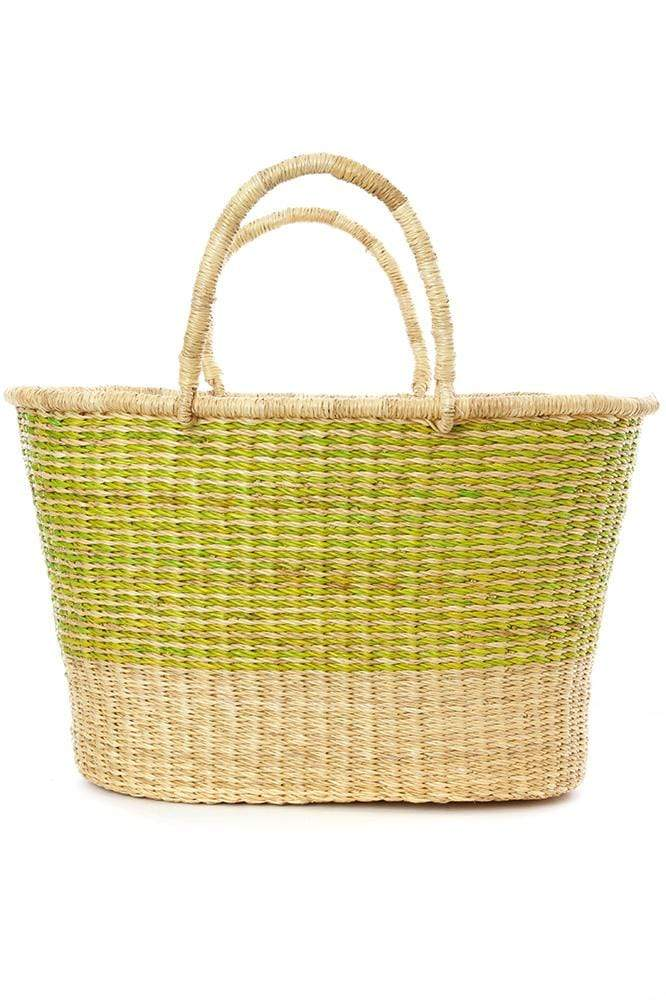 Swahili Modern Tote Lime Pinstripe Tailored Tote from Ghana