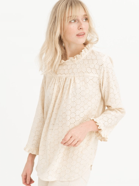 Tribe Alive Top Eyelet Long Sleeve Top