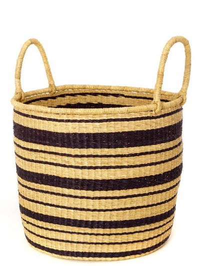 Wolof Weavers of Senegal Laundry Basket Striped Elephant Grass Nesting Hampers