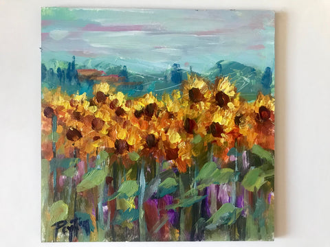 Sunflowers on a Cloudy Day, Size 6 x 6