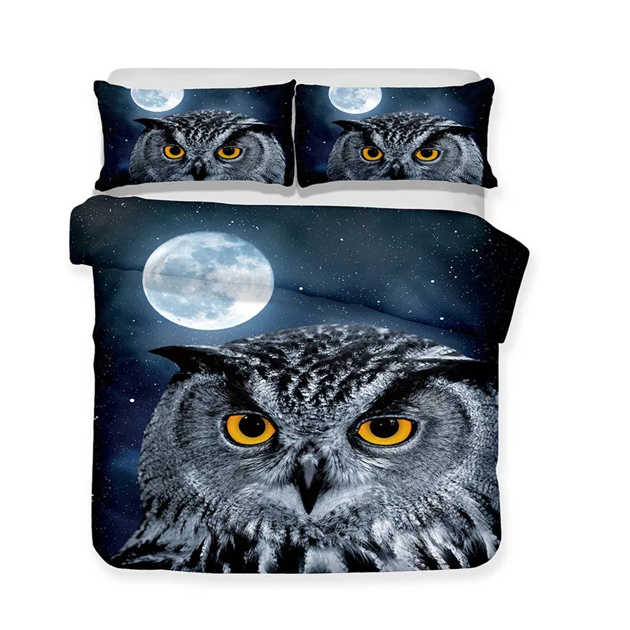 3D Night Owl 3 PC Bed Spread - TheOwlsTree