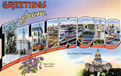Greetings from Illinois Postcards