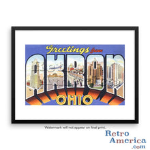 Greetings from Akron Ohio OH Postcard Framed Wall Art