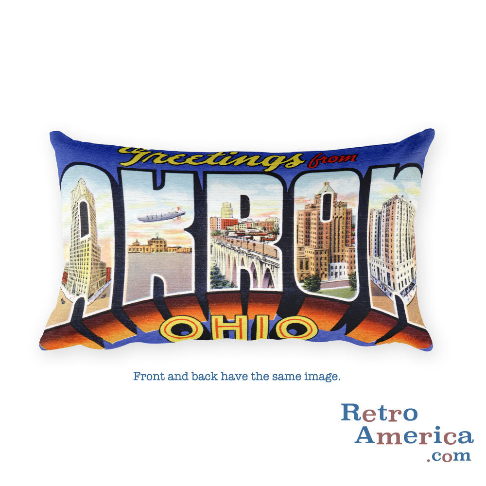 Greetings from Akron Ohio Throw Pillow