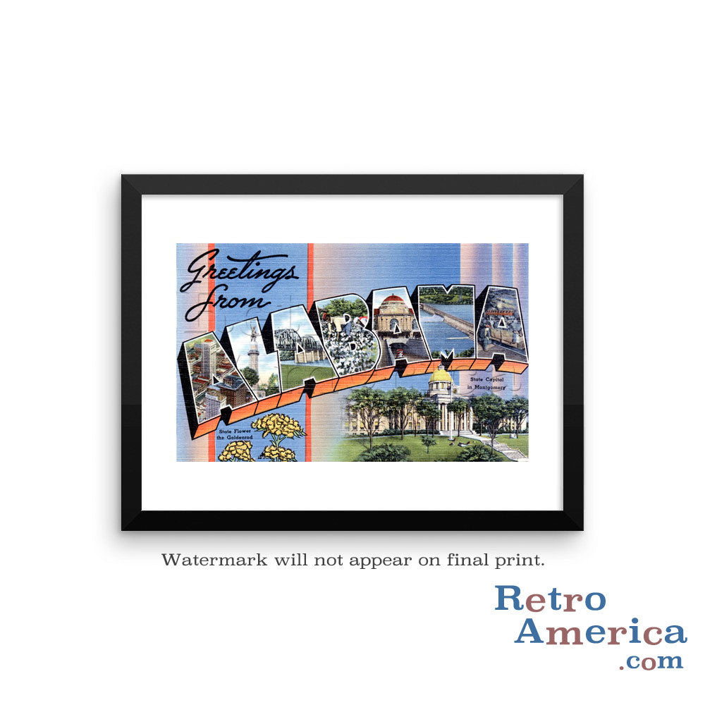 Greetings from Alabama AL 1 Postcard Framed Wall Art