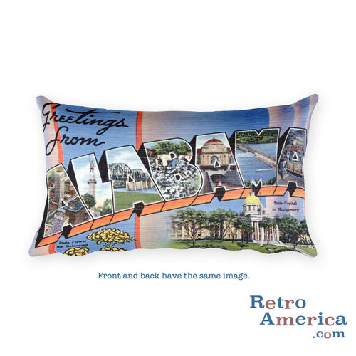 Greetings from Alabama Throw Pillow 1
