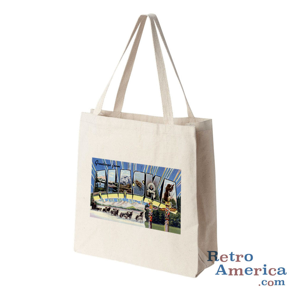 Greetings from Alaska AK Postcard Tote Bag