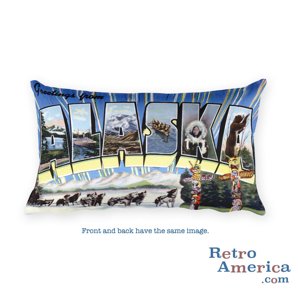 Greetings from Alaska Throw Pillow