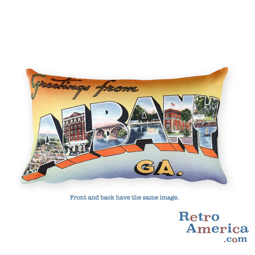 Greetings from Albany Georgia Throw Pillow