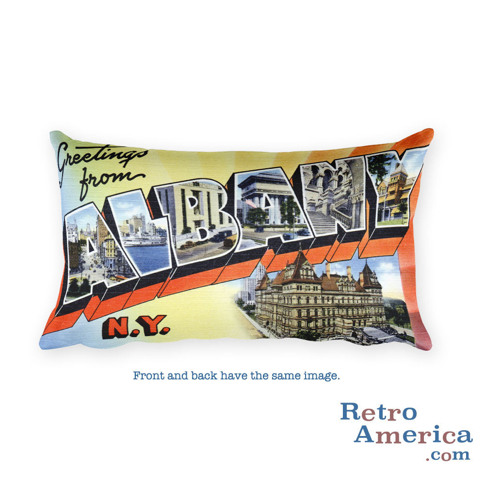 Greetings from Albany New York Throw Pillow