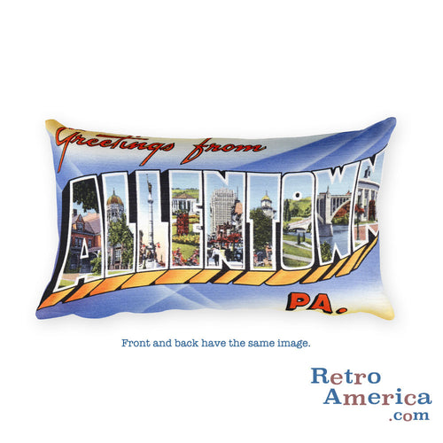 Greetings from Allentown Pennsylvania Throw Pillow