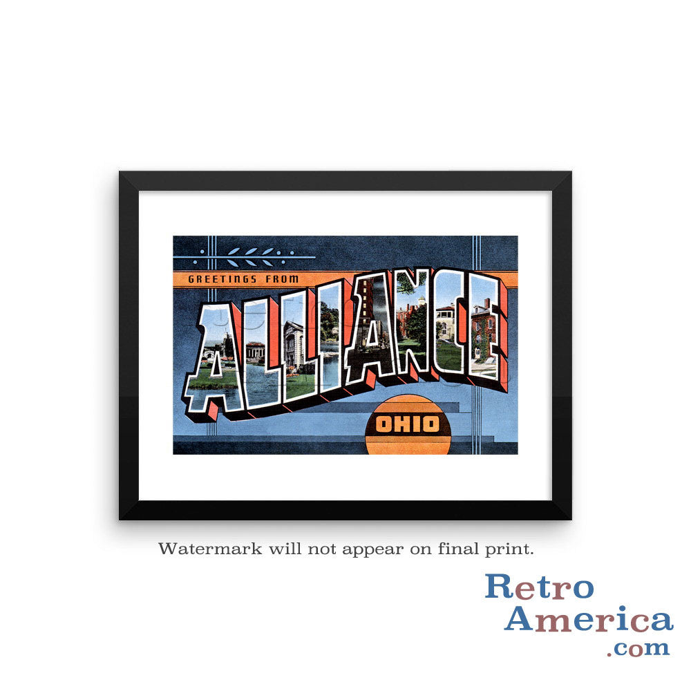 Greetings from Alliance Ohio OH Postcard Framed Wall Art