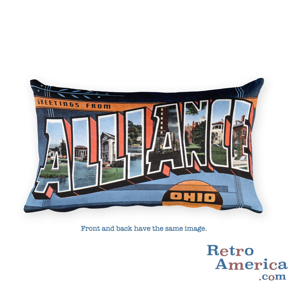 Greetings from Alliance Ohio Throw Pillow