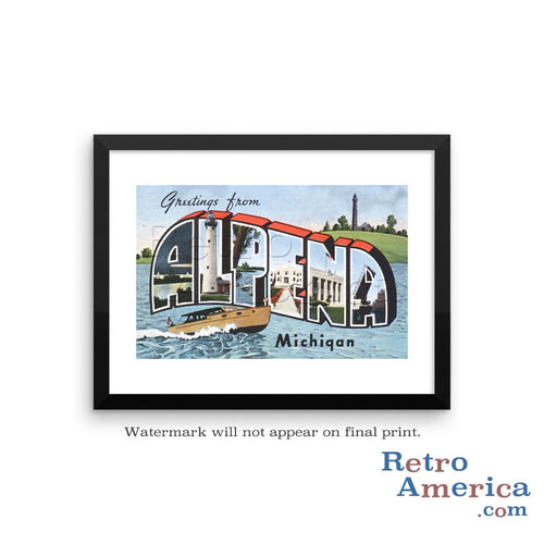 Greetings from Alpena Michigan MI Postcard Framed Wall Art