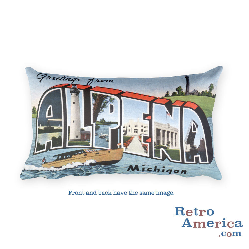 Greetings from Alpena Michigan Throw Pillow