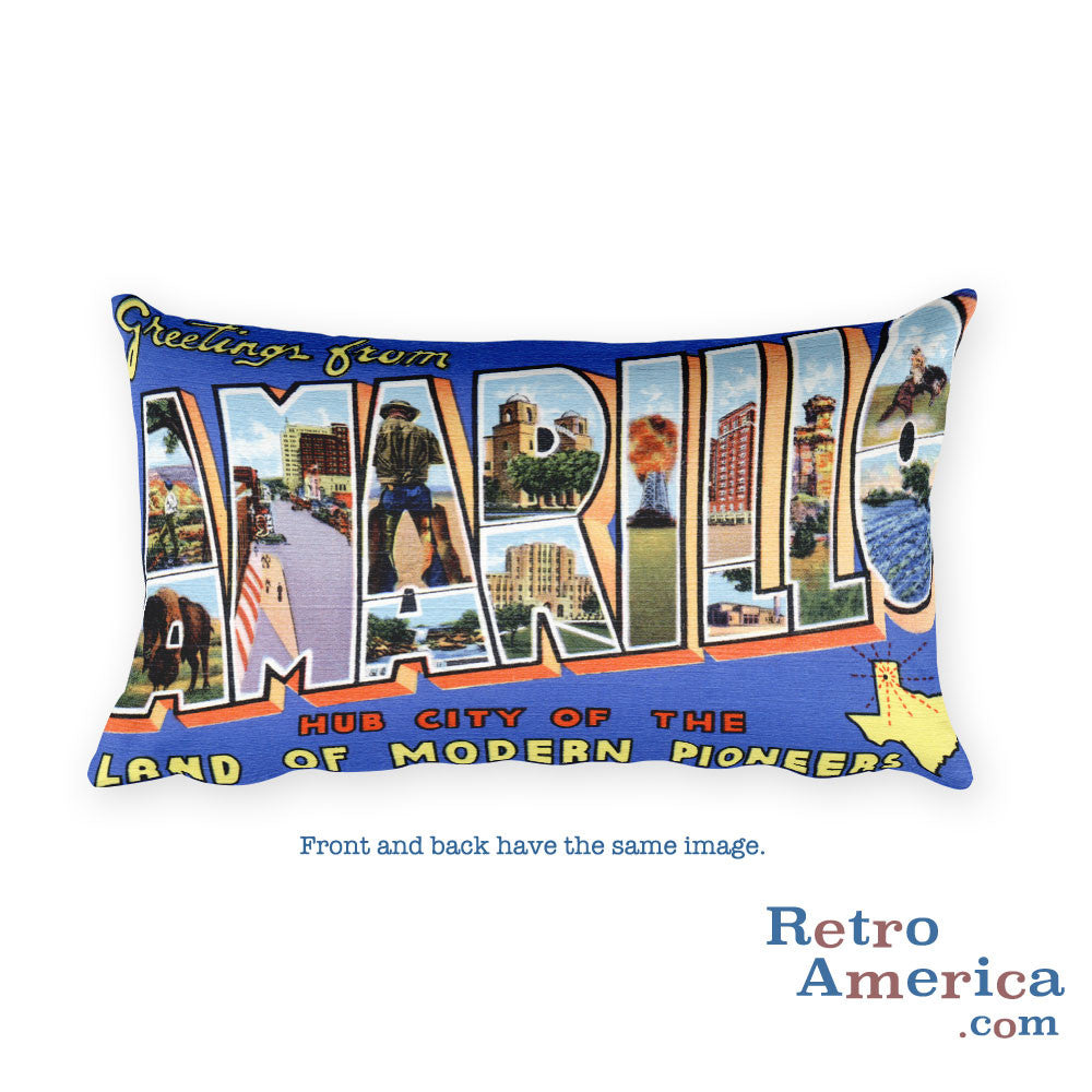 Greetings from Amarillo Texas Throw Pillow