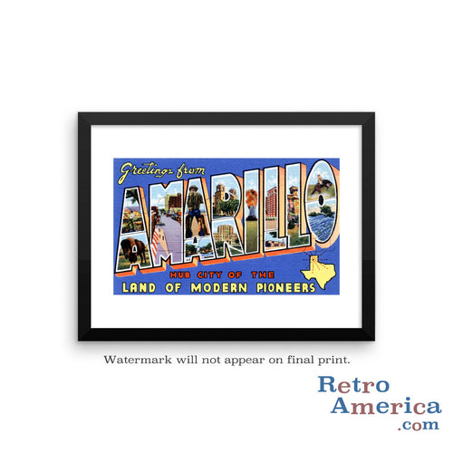 Greetings from Amarillo Texas TX Postcard Framed Wall Art