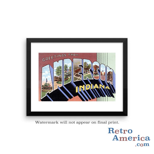 Greetings from Anderson Indiana IN Postcard Framed Wall Art