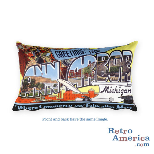 Greetings from Ann Arbor Michigan Throw Pillow 2