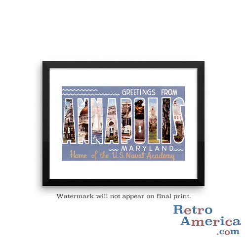 Greetings from Annapolis Maryland Md Postcard Framed Wall Art