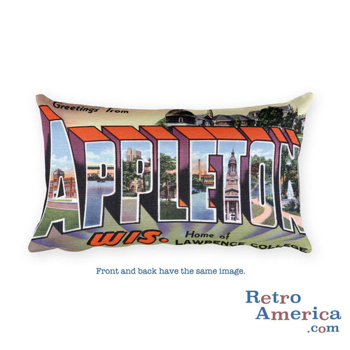 Greetings from Appleton Wisconsin Throw Pillow