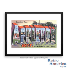 Greetings from Appleton Wisconsin WI Postcard Framed Wall Art