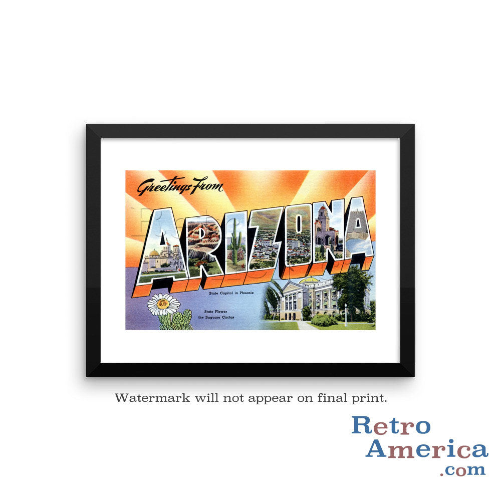 Greetings from Arizona AZ 1 Postcard Framed Wall Art