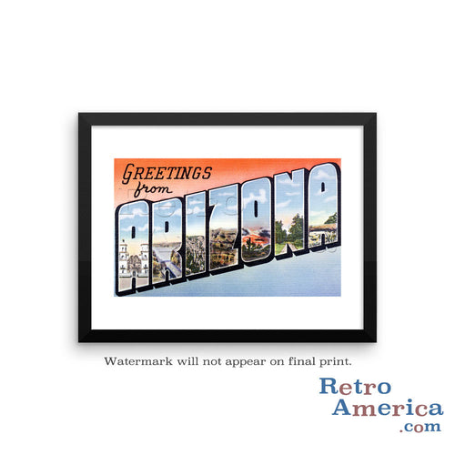 Greetings from Arizona AZ 4 Postcard Framed Wall Art