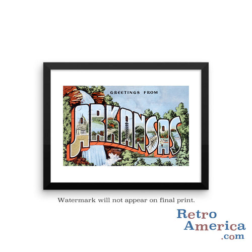 Greetings from Arkansas AR 2 Postcard Framed Wall Art