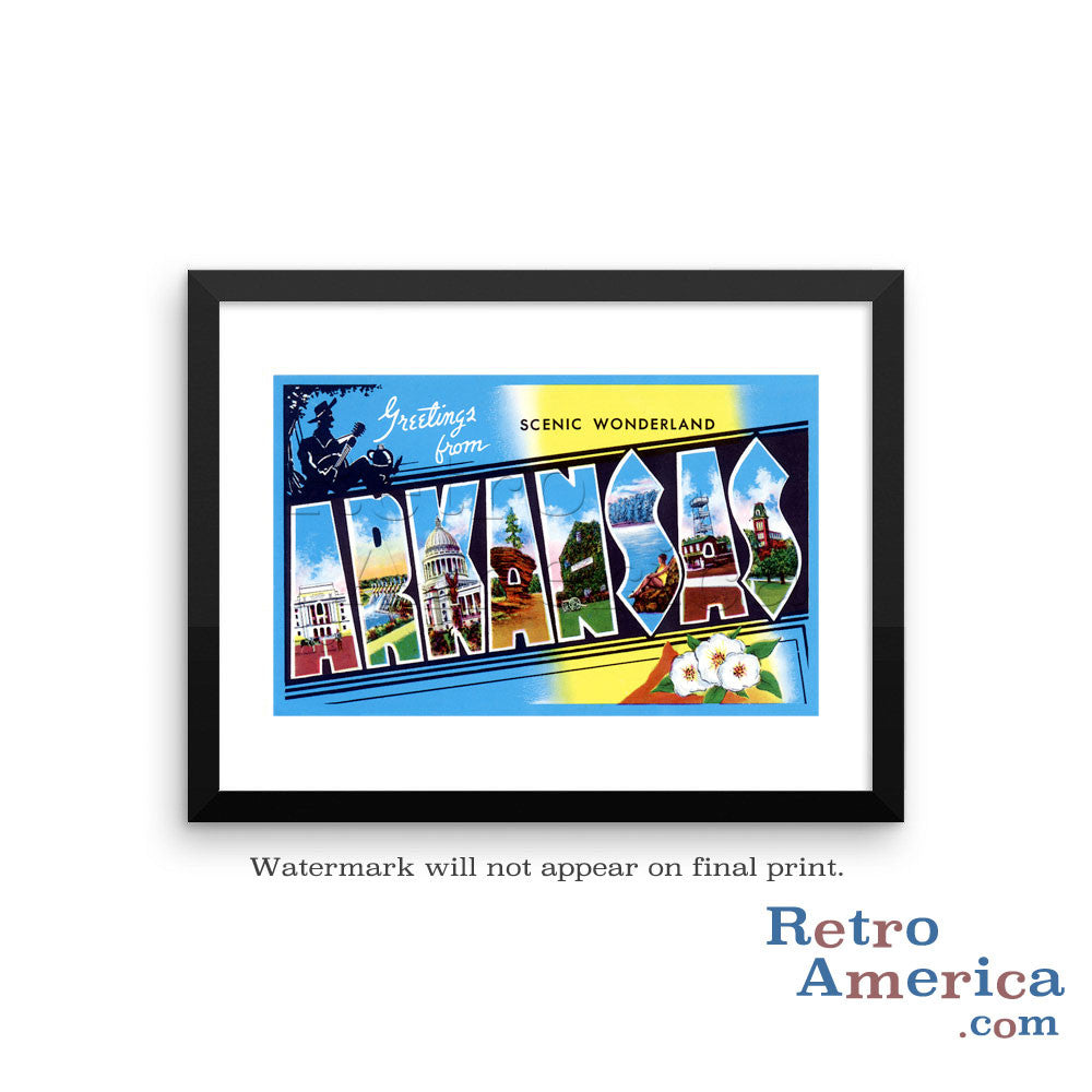 Greetings from Arkansas AR 3 Postcard Framed Wall Art