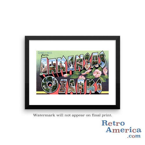 Greetings from Arkansas Ozarks Arkansas AR 1 Postcard Framed Wall Art