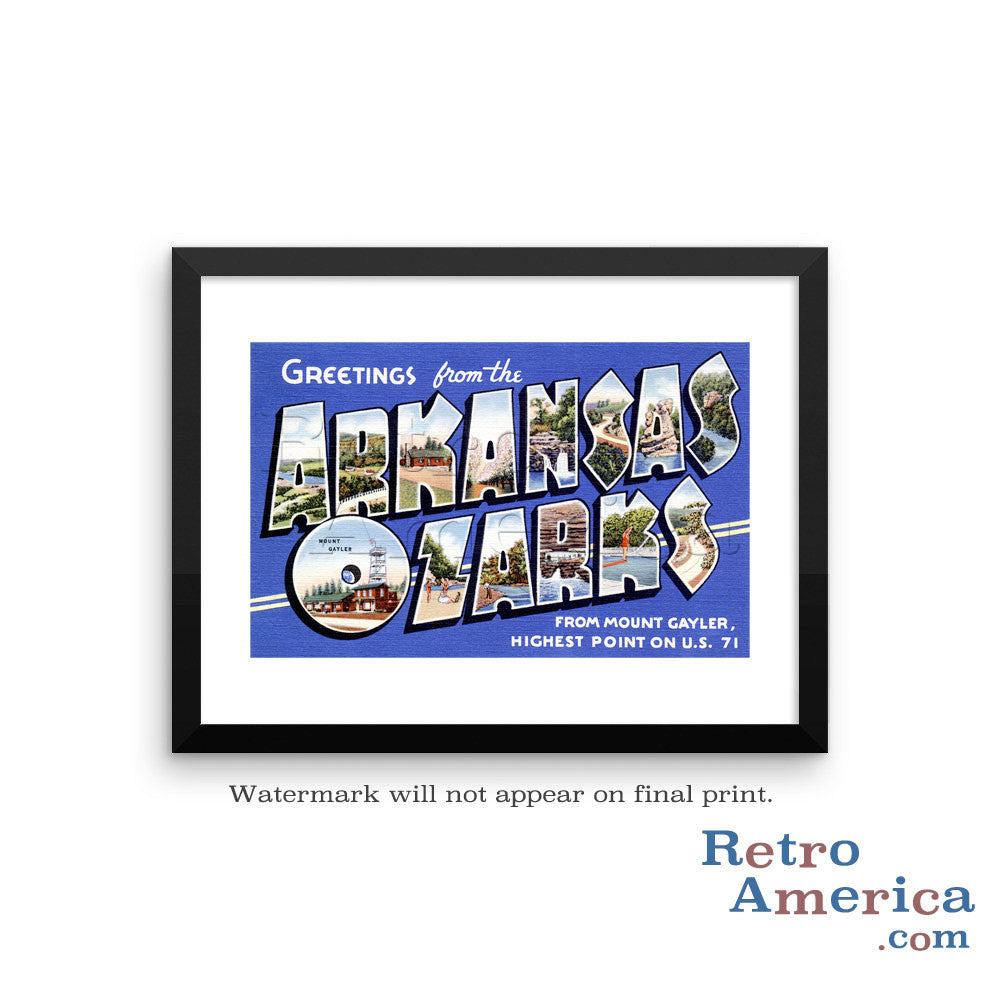 Greetings from Arkansas Ozarks Arkansas AR 2 Postcard Framed Wall Art