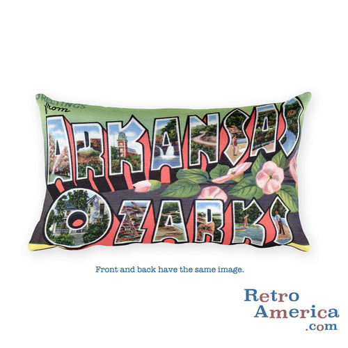 Greetings from Arkansas Ozarks Arkansas Throw Pillow 1