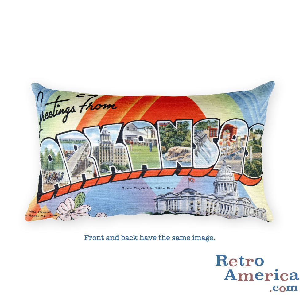 Greetings from Arkansas Throw Pillow 1