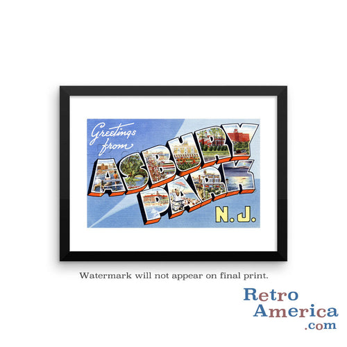 Greetings from Asbury Park New Jersey NJ 1 Postcard Framed Wall Art