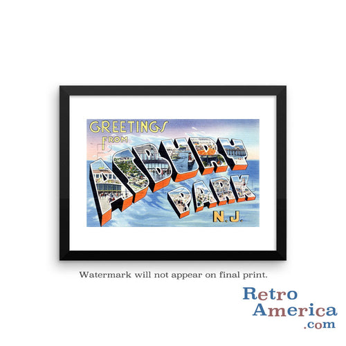 Greetings from Asbury Park New Jersey NJ 3 Postcard Framed Wall Art