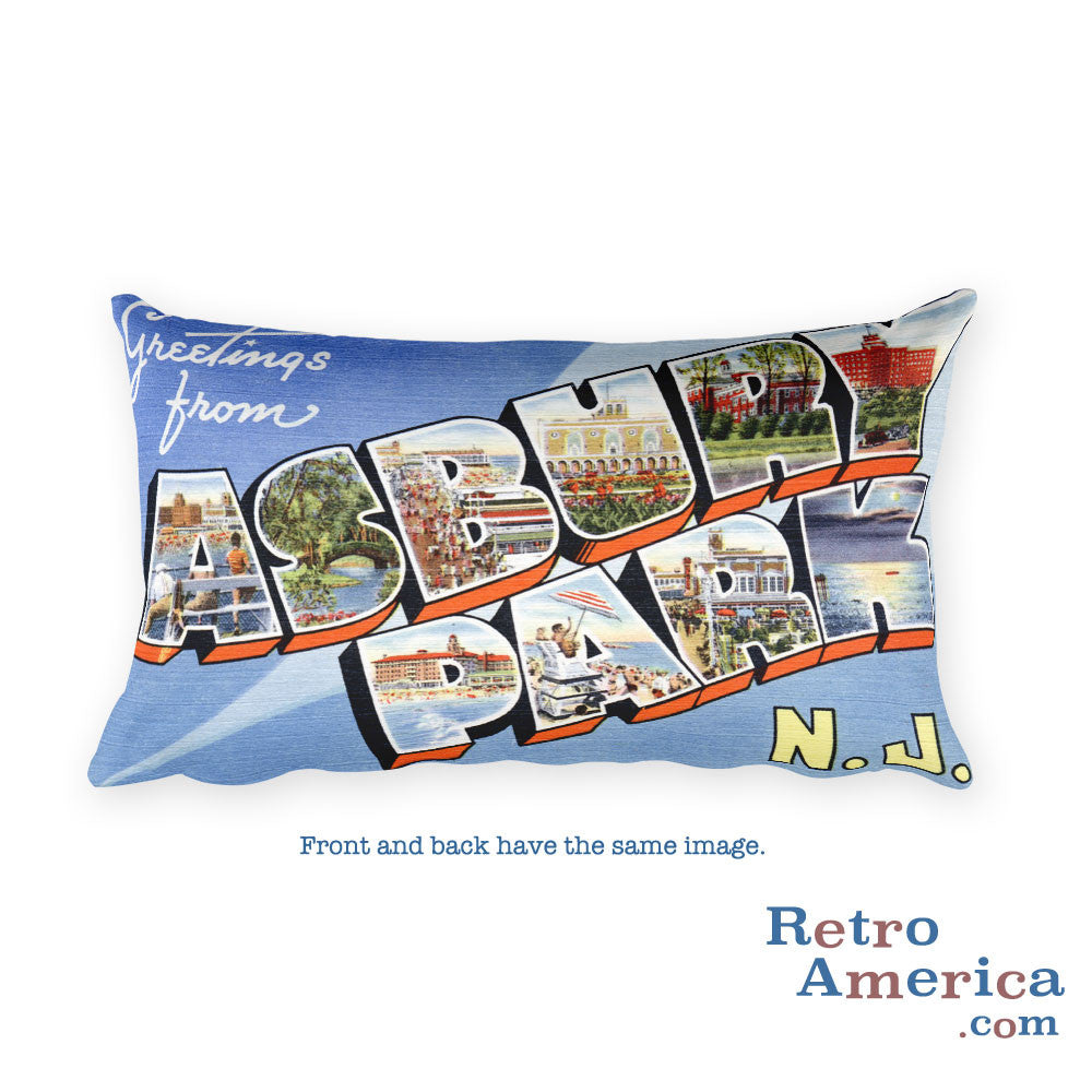 Greetings from Asbury Park New Jersey Throw Pillow 1