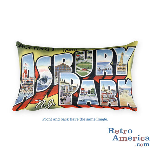 Greetings from Asbury Park New Jersey Throw Pillow 2