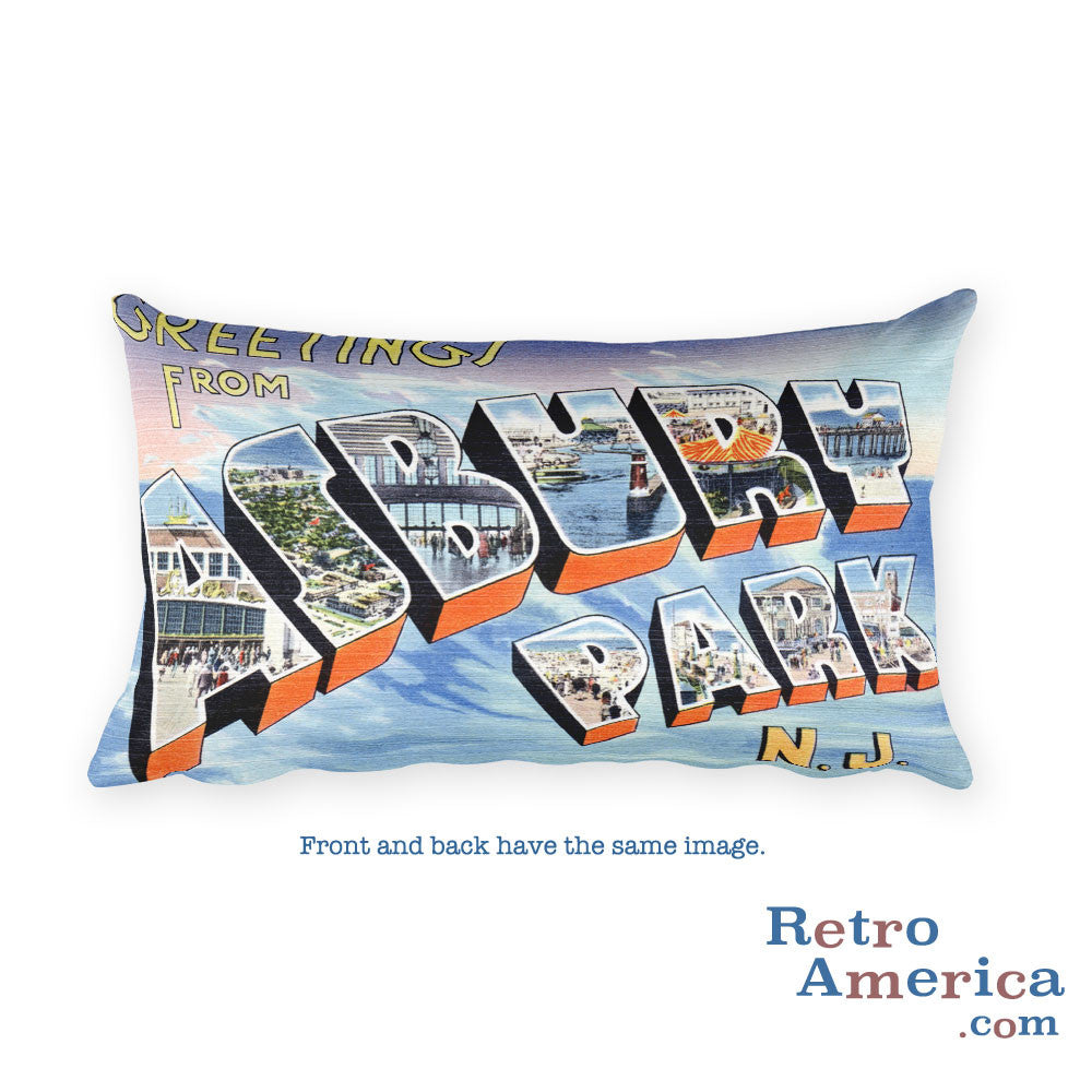 Greetings from Asbury Park New Jersey Throw Pillow 3