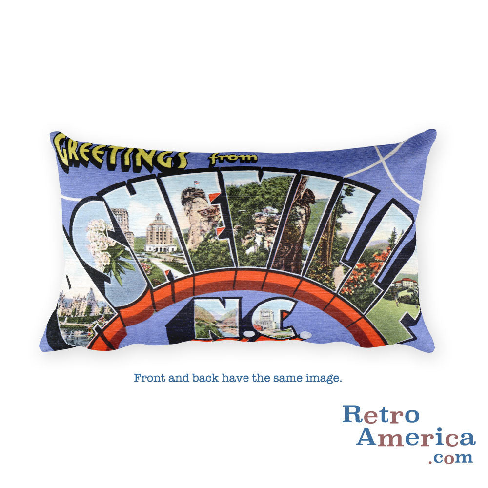 Greetings from Asheville North Carolina Throw Pillow